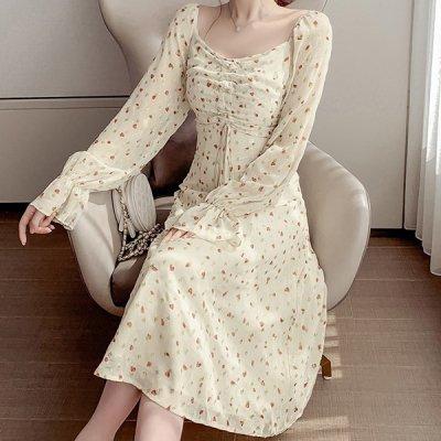 韓国ワンピース❤上品な透け感が大人っぽいハートドット柄の可愛いワンピース 963224