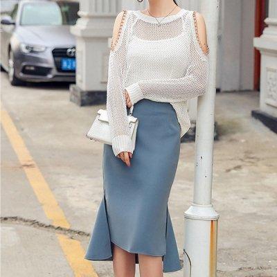 韓国セットアップ❤鍵編みトップスとマーメードスカートの可愛いツーピース 963228