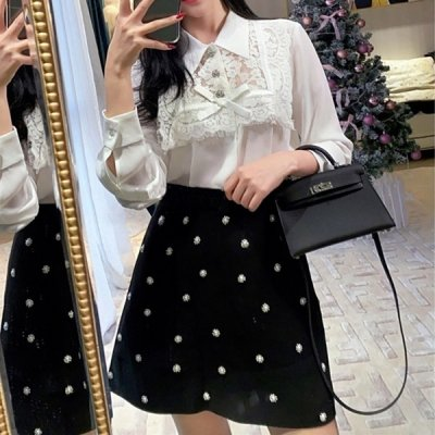 韓国セットアップ❤レースブラウスとパール付きミニスカートの可愛いツーピース 963244