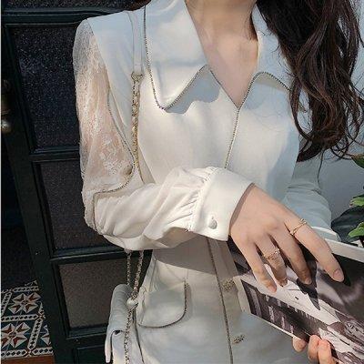 韓国ワンピース❤お袖の透け感がセクシーで可愛いモノトーンワンピース 963271