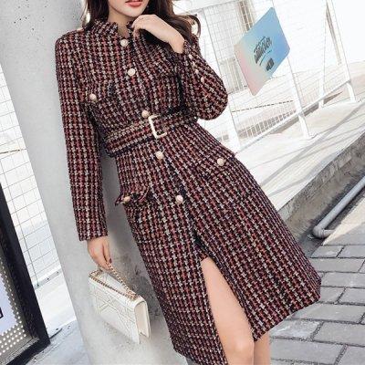 韓国セットアップ❤レトロ感溢れるスタイリングに! ロングコート&ショートパンツの可愛いツーピース 963282