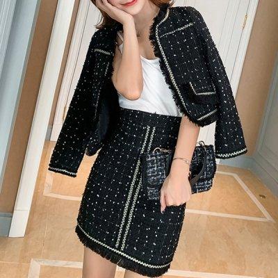 韓国セットアップ❤お呼ばれにもおススメのブラックカラー! ジャケット&スカートの可愛いツーピース 963283