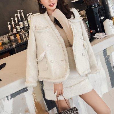 韓国セットアップ❤アイボリーカラーが大人っぽい! ウール素材のジャケット&スカートの可愛いツーピース 963285