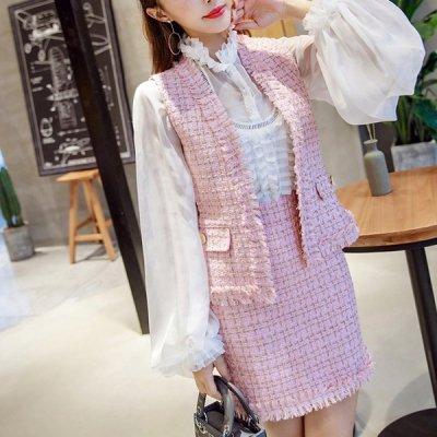 韓国セットアップ❤ツイード素材のベスト&スカートとシフォンブラウスの可愛いスリーピース 963286