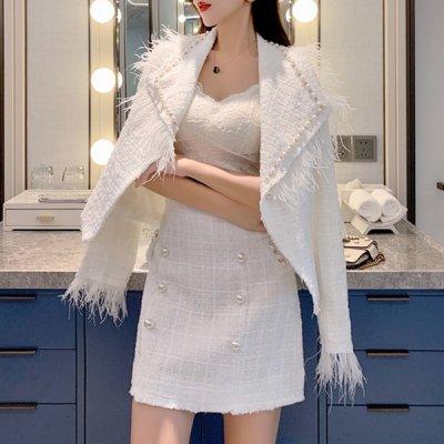 韓国セットアップ❤秋冬おススメのツイード素材! ジャケット&スカートの可愛いツーピース 963290