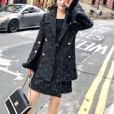 韓国セットアップ❤袖のファーがエレガントをプラス! ジャケット&スカートの可愛いツーピース 963296