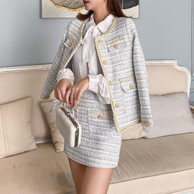 韓国セットアップ❤マルチに使えるベーシックなデザイン! ツイード素材のジャケット&スカートの可愛いツーピース 963298