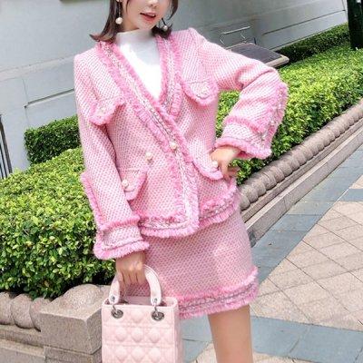 韓国セットアップ❤ピンクカラーでレディライクに! ジャケット&スカートの可愛いツーピース 963299