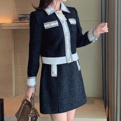 韓国セットアップ❤ブラック×ベージュの王道カラー! ジャケット&スカートの可愛いツーピース 963301
