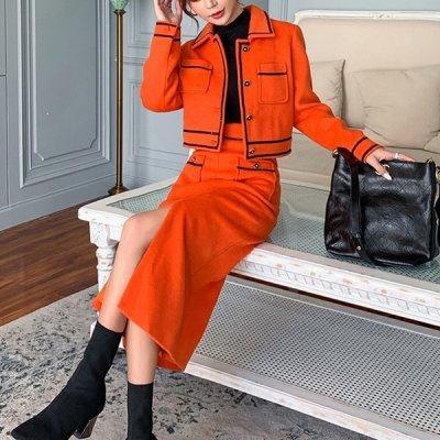 韓国セットアップ❤オレンジカラーが大人っぽい! ジャケット&ロングスカートの可愛いツーピース 963304