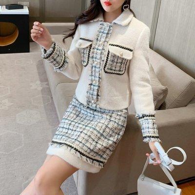 韓国セットアップ❤異素材MIIXで上品な雰囲気に! ジャケット&スカートの可愛いツーピース 963306