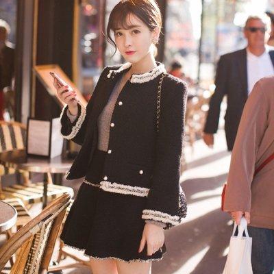 韓国セットアップ❤レディライクなコーデが完成! ジャケット&スカートの可愛いツーピース 963309