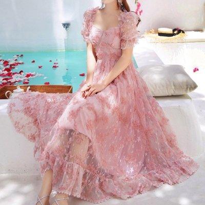 韓国ワンピース❤お姫様のようなふんわりシルエットの可愛いお呼ばれワンピース 963314