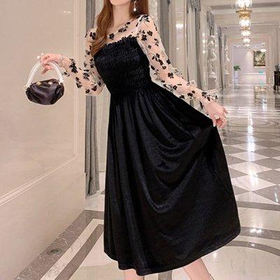 韓国ワンピース❤レース袖に刺繍が可愛い! ベルベット素材のお呼ばれワンピース 963324