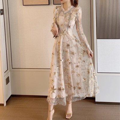 韓国ワンピース❤キラキラ輝くスパンコールがエレガントな可愛いワンピースドレス 963338