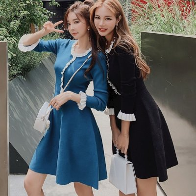 韓国ワンピース❤細かいフリルがフェミニンな可愛いニットワンピース 963339