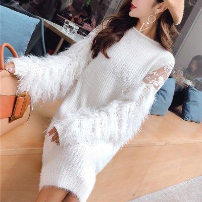 韓国ワンピース❤ボリュームあるシャギー袖が可愛いニットワンピース 963353