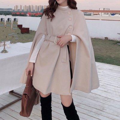 韓国アウター❤個性的なデザインの可愛いポンチョ風コート 963354