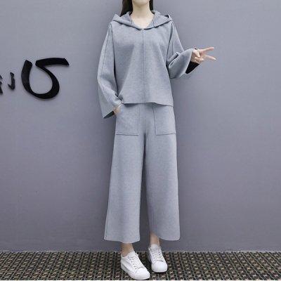 韓国セットアップ❤フード付きトップス&ワイドパンツの可愛いツーピース 963356