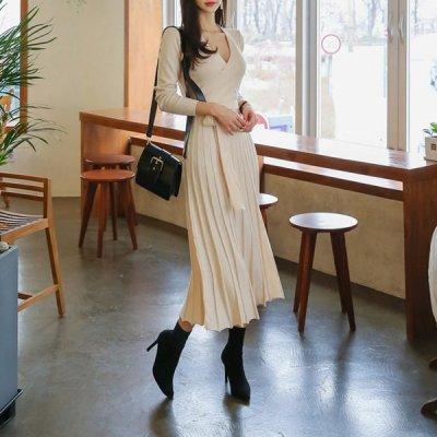 韓国ワンピース❤ふんわり広がるきれいなシルエットの可愛いニットワンピース 963365