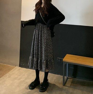 韓国セットアップ❤バックリボンニット&ワンピースの可愛いツーピース 963385