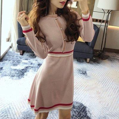 韓国ワンピース❤大人カラーが可愛いウエスト切替ニットワンピース 963422