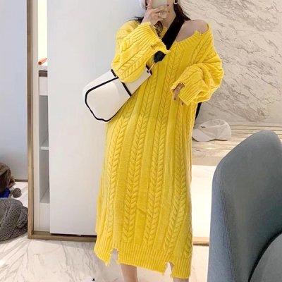 韓国ワンピース❤オーバーサイズ×ローゲージが可愛いルーズニットワンピース 963427