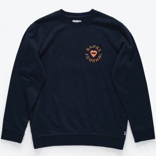 <img class='new_mark_img1' src='//img.shop-pro.jp/img/new/icons14.gif' style='border:none;display:inline;margin:0px;padding:0px;width:auto;' />BANKS JOURNAL Heart Circles Crew Graphic Fleece DIRTY DENIM
