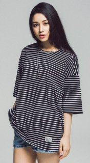 OVER FIT STRIPE TEE SS-BLACK