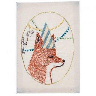 BIRTHDAY PARTY FOX STATIONERY 刺繍ポストカード -Coral & Tusk(コーラル&タスク)-