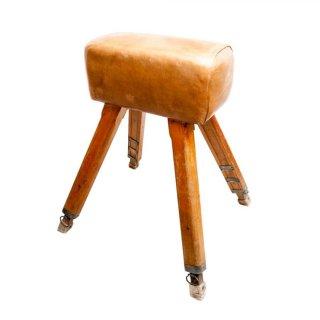 【50%OFF】アンティーク家具 1940s イギリス ヴィンテージ 体操用 跳馬 /Leather Pommel Horse