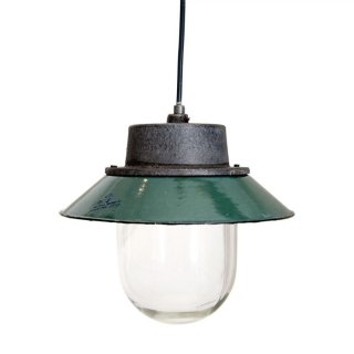【30%OFF】ヴィンテージ ペンダントライト  (エナメル/アイアン/ガラス) Green Ceiling Lamp