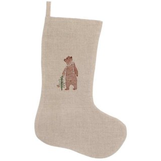 【50%OFF】 BEAR WITH PRESENT SMALL STOCKING 刺繍 クリスマス ソックス | Coral & Tusk