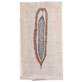 <img class='new_mark_img1' src='https://img.shop-pro.jp/img/new/icons20.gif' style='border:none;display:inline;margin:0px;padding:0px;width:auto;' />【50%OFF】HAWK FEATHER TEA TOWEL 刺繍 ティータオル 羽 | Coral & Tusk