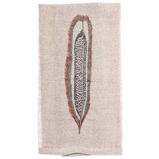 HAWK FEATHER TEA TOWEL 刺繍 ティータオル 羽 | Coral & Tusk