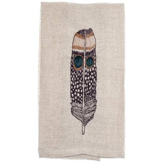 <img class='new_mark_img1' src='https://img.shop-pro.jp/img/new/icons20.gif' style='border:none;display:inline;margin:0px;padding:0px;width:auto;' />OWL FEATHER TEA TOWEL 刺繍 ティータオル 羽 | Coral & Tusk