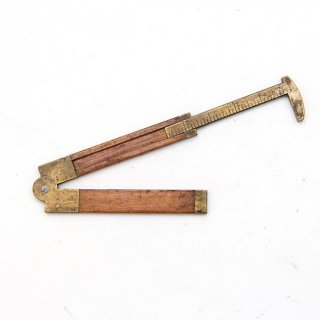 アンティーク 折りたたみ式ノギスE 木製/真鍮  定規(ものさし)