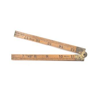 アンティーク 折りたたみ式 ルーラー 木製/真鍮  定規(ものさし)
