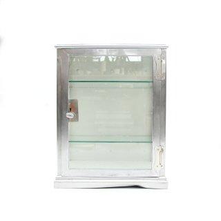 ヴィンテージ メタル ガラス キャビネット ショーケース 壁掛け