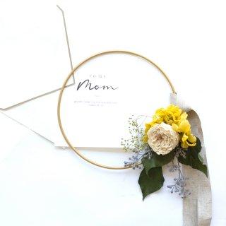 アンティークグリーン バラとあじさいのゴールドリングリース(プリザーブドフラワー)