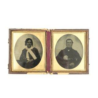 19世紀 ヴィクトリアン アンティークフォト(湿板印刷) 折りたたみ式フレームセット