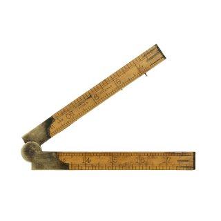 アンティーク 折りたたみ式 ルーラー 木製/真鍮  定規(ものさし)イギリス