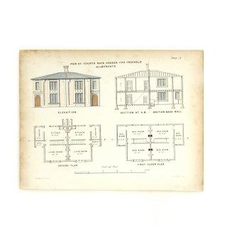 1850年代 イギリス アンティーク アート 図面 ドローイング ハンドカラープリント Plate18