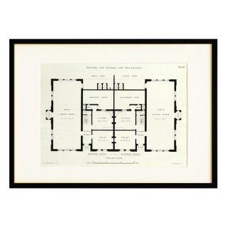 1850年代 イギリス アンティーク アート 図面 ドローイング 学校 住居 Plate123