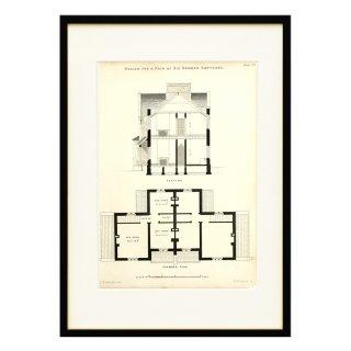 1850年代 イギリス アンティーク アート 図面 ドローイング コテージ Plate102