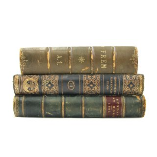 アンティーク 洋書 ・ 洋古書 3冊セット レザー グリーン