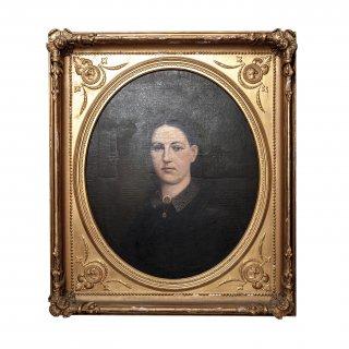 19世紀 アンティーク ウーマン ポートレート 肖像画