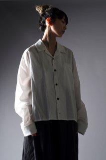Cotton Broad Double Cuffs Short Shirts white