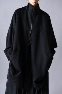 Wool Gabardine 90 Zip Coat black