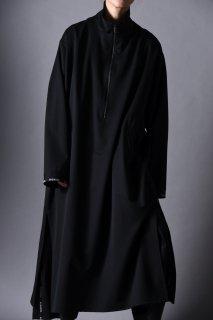 Wool Gabardine Half Zip Long Pullover black